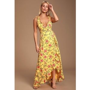 Lulus Blossoming Heart Yellow Floral Wrap Dress S